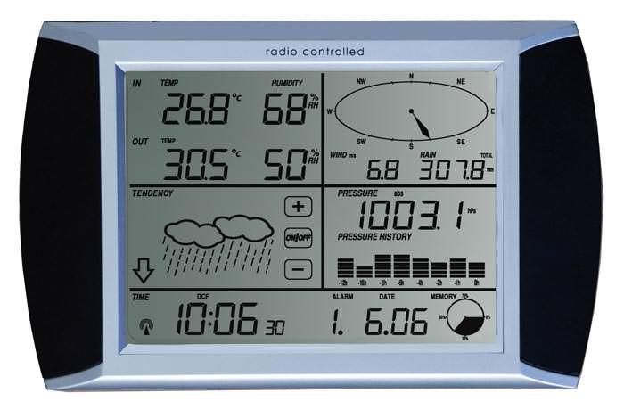 orologio da parete con stazione meteorologica