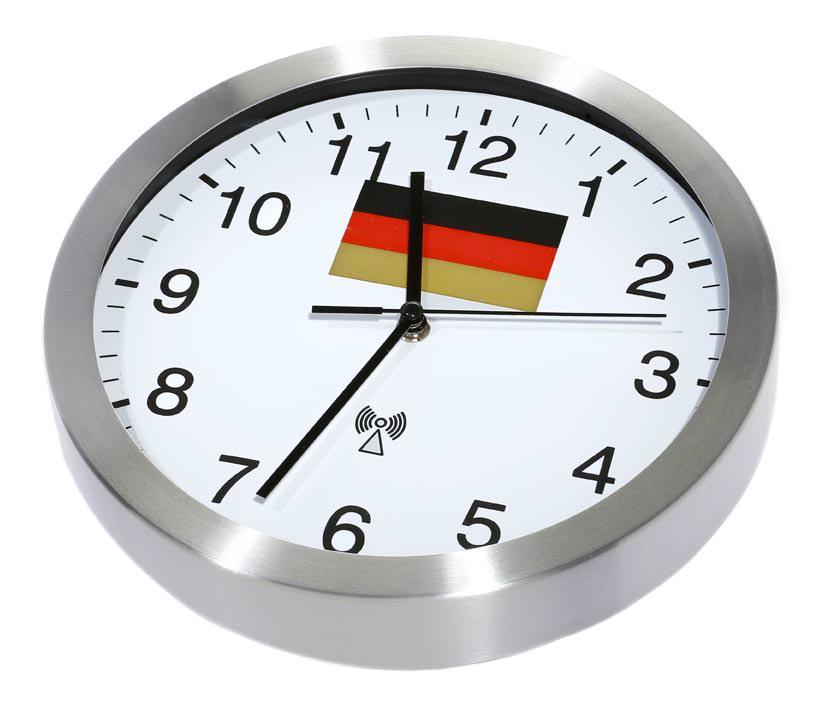 funk wanduhr wm wanduhr 25 cm aluminium deutschland uhr wanduhren funkuhren ebay. Black Bedroom Furniture Sets. Home Design Ideas