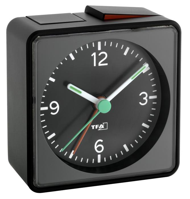 silent travel alarm clock tfa push sweep clockwork ebay. Black Bedroom Furniture Sets. Home Design Ideas